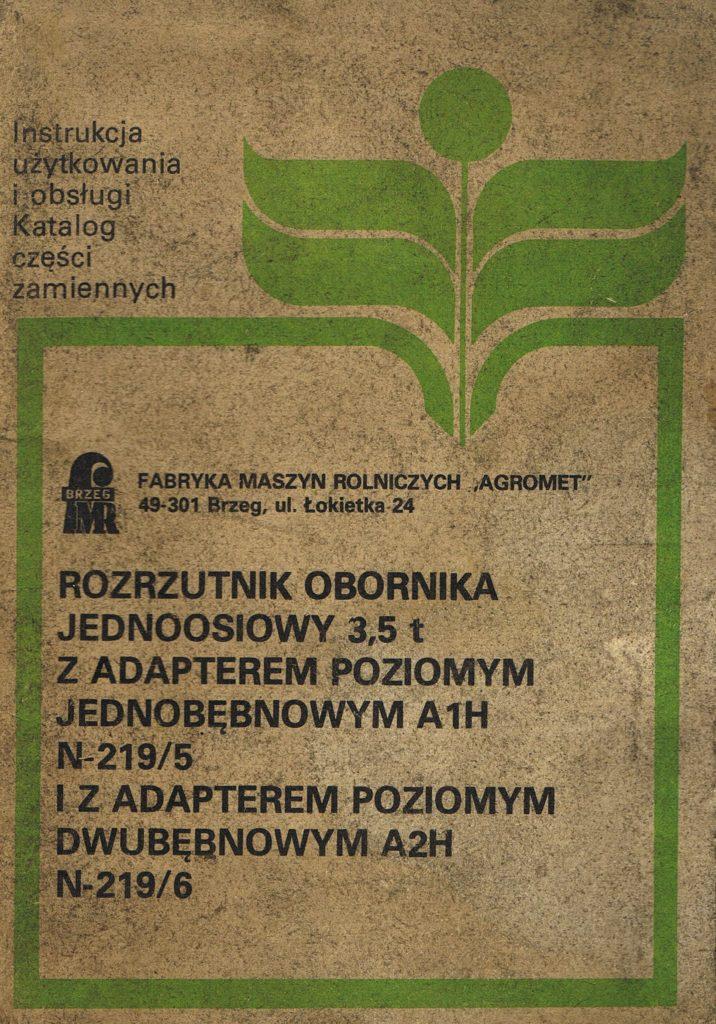 Book Cover: Rozrzutnik obornika jednoosiowy 3,5t instrukcja obsługi i katalog części