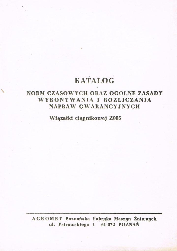 Book Cover: Wiązałka Z005/1 Warta 2 Katalog norm czasowych oraz ogólne zasady wykonywania i rozliczania napraw gwarancyjnych