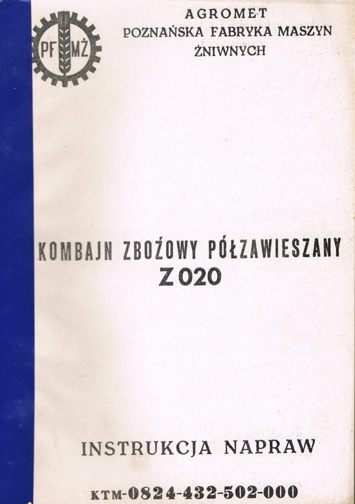 Book Cover: Kombajn zbożowy półzawieszany Z020 instrukcja napraw