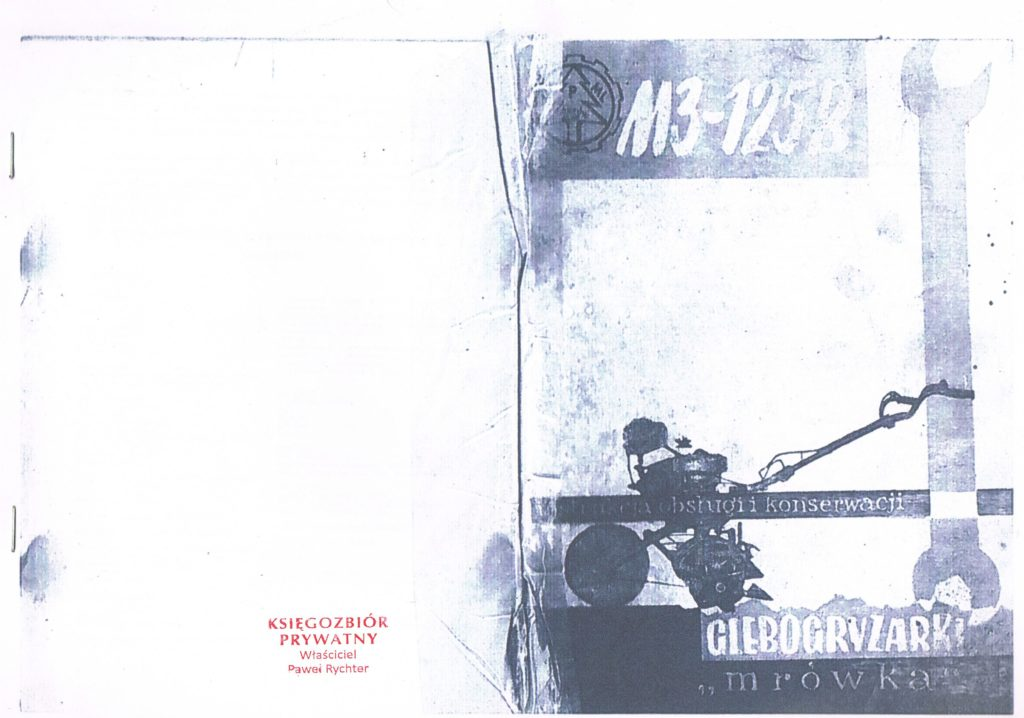 Book Cover: Glebogryzarka Mrówka M3-125 instrukcja obsługi i konserwacji