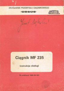 Book Cover: Ciągnik MF 235 instrukcja obsługi