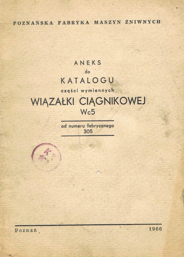 Book Cover: Aneks do katalogu części wymiennych wiązałki ciągnikowej WC5