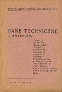Book Cover: Dane techniczne traktorów Case Empire Farmall Fordson Ford-Ferguson John Deere Lanz Bulldog Zetor