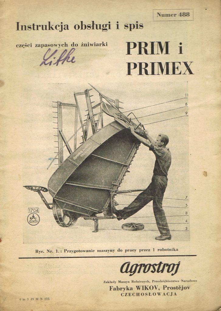 Book Cover: Instrukcja obsługi i spis części zapasowych do żniwiarki Prim i Primex