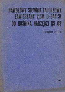 Book Cover: Nawozowy siewnik talerzowy zawieszany 2,5m D-344/St do nośnika narzędzi RS09