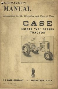Book Cover: Operator's manual Case model VA series tractor