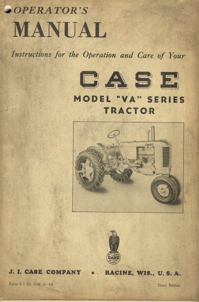 Book Cover: Operator's manual Case model VA series tractor