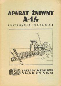 Book Cover: Aparat żniwny A-1,4 instrukcja obsługi