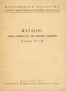 Book Cover: Katalog norm czasowych na remont ciągnika Zetor T-25