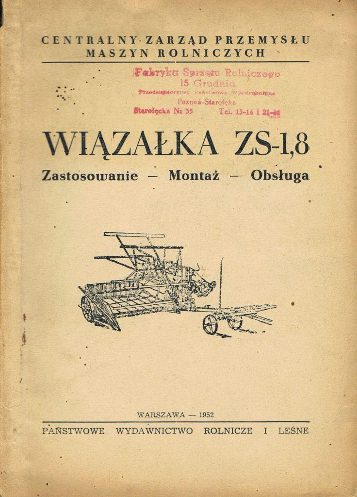 Book Cover: Wiązałka ZS-1,8 zastosowanie - montaż - obsługa