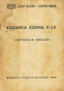 Book Cover: Kosiarka konna K-1,4 instrukcja obsługi