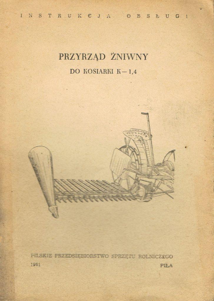 Book Cover: Przyrząd żniwny do kosiarki K-1,4