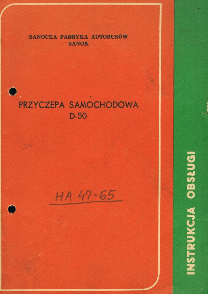 Book Cover: Przyczepa samochodowa D-50 instrukcja obsługi