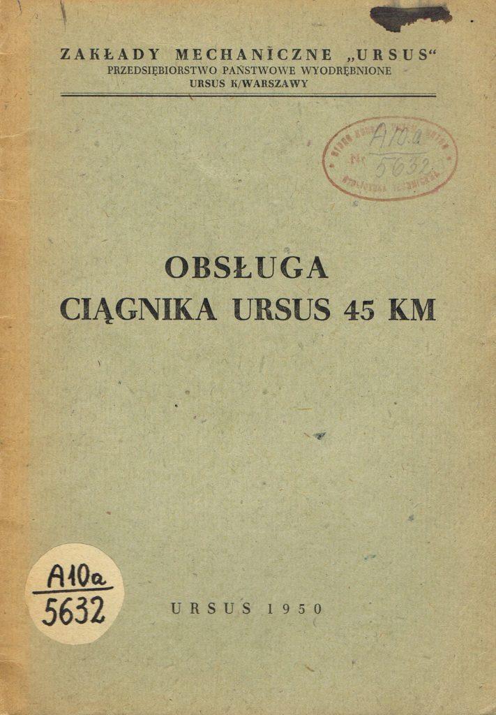 Book Cover: Obsługa ciągnika Ursus 45 KM