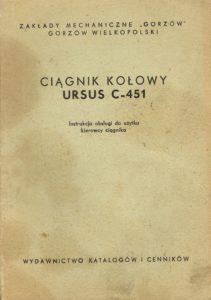 Book Cover: Ciągnik kołowy Ursus C-451 instrukcja obsługi do użytku kierowcy ciągnika