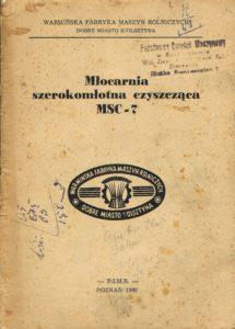 Book Cover: Młocarnia szerokomłotna czyszcząca MSC-7 instrukcja obsługi i katalog części