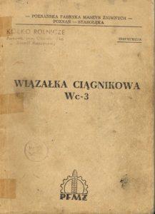 Book Cover: Wiązałka ciągnikowa Wc-3 instrukcja obsługi i katalog części
