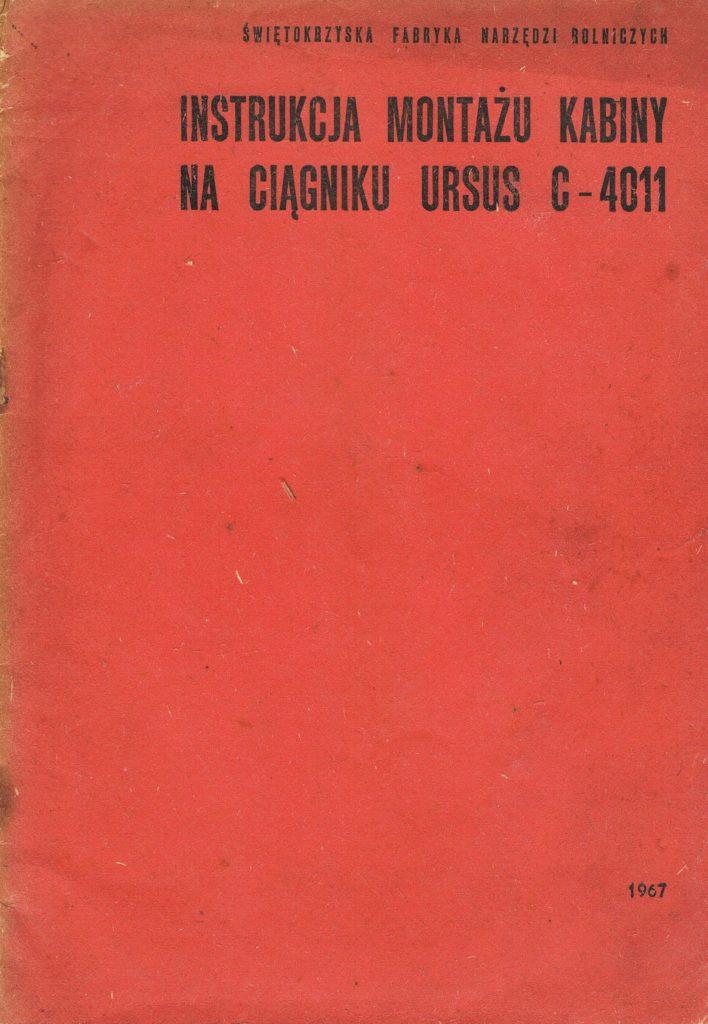 Book Cover: Instrukcja montażu kabiny na ciągniku Ursus C-4011