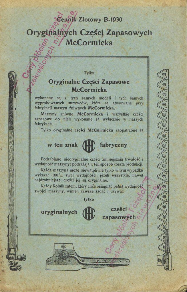Book Cover: Cennik złotowy B-1930 oryginalnych części zapasowych McCormicka