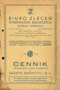 Book Cover: Cennik oryginalnych części zamiennych do maszyn żniwnych IHC