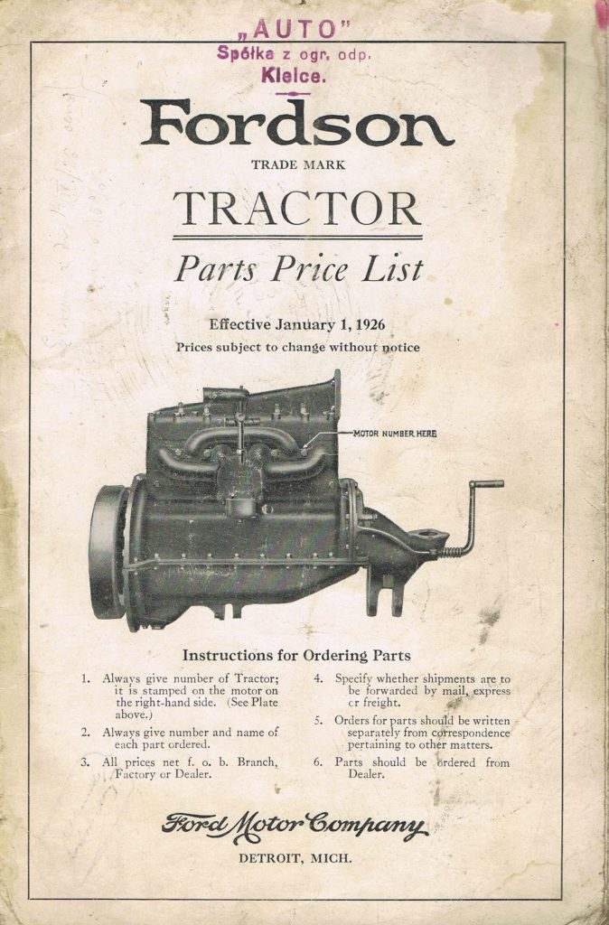 Book Cover: Fordson Tractor Parts Price List