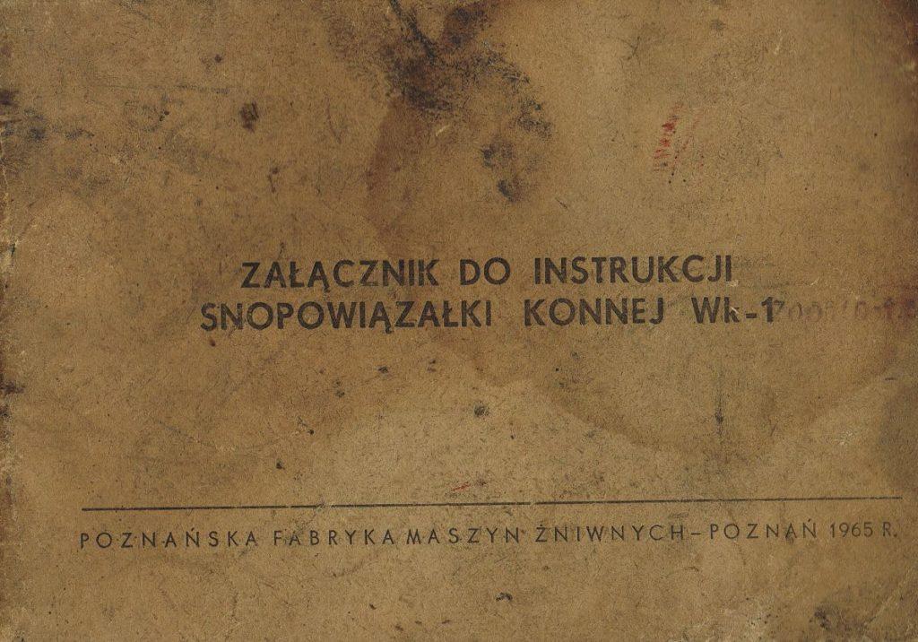 Book Cover: Załącznik do instrukcji snopowiązałki konnej WK-1